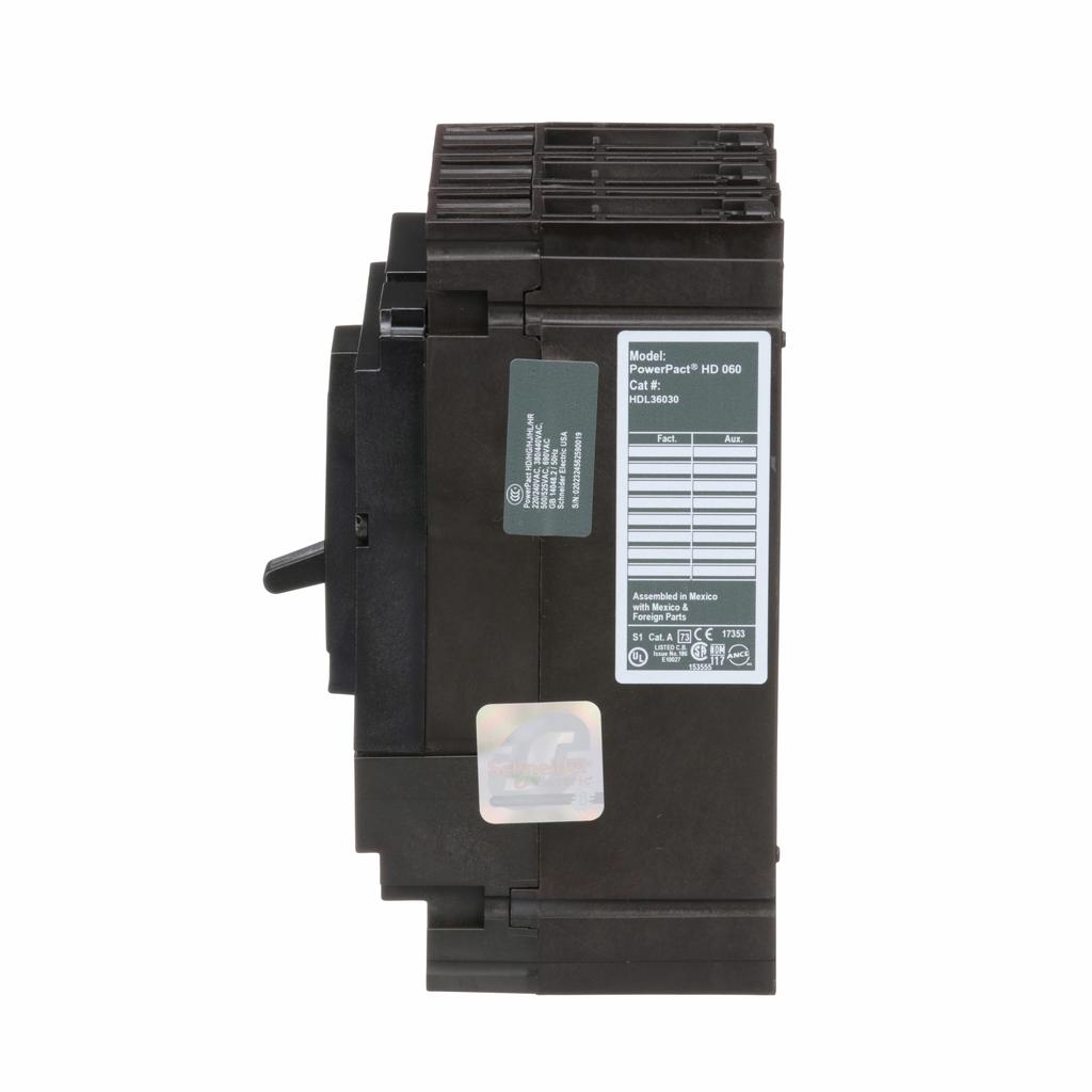 PowerPact H Circuit Breaker,ThermMagn,30A,3P,600V,14kA