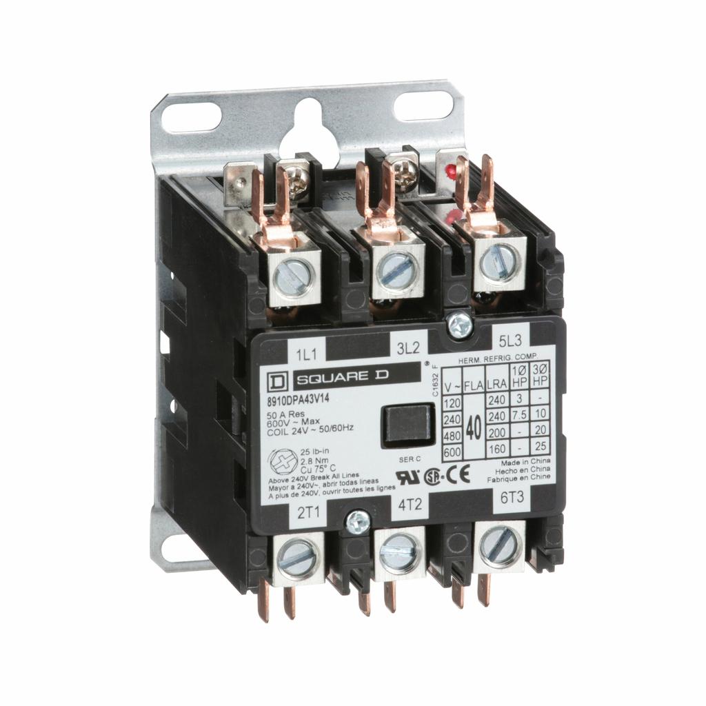 8910DPA definite purpose contactor, 40 A, 3P, 24/24 V 50/60 Hz coil, open