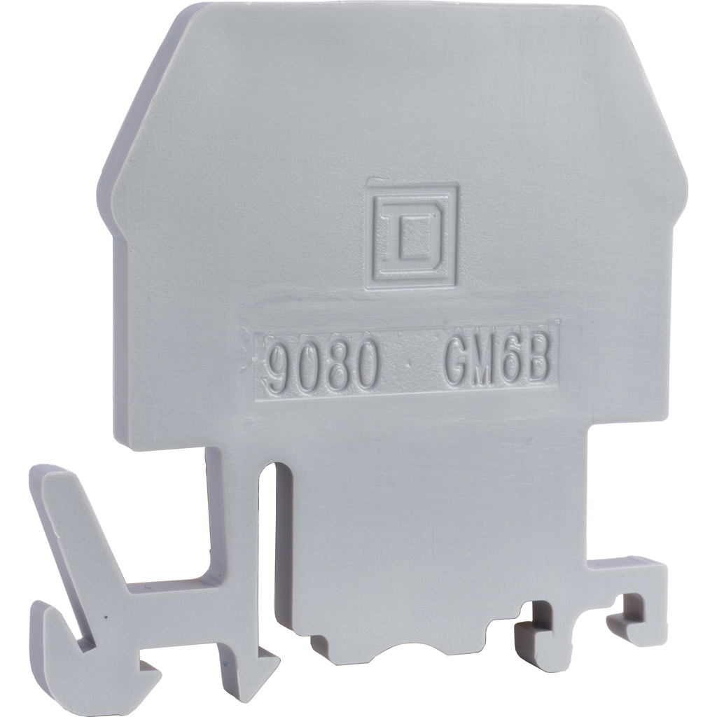 Linergy terminal block, end barrier, grey color, for 9080GM6 or 9080GR6 terminal block