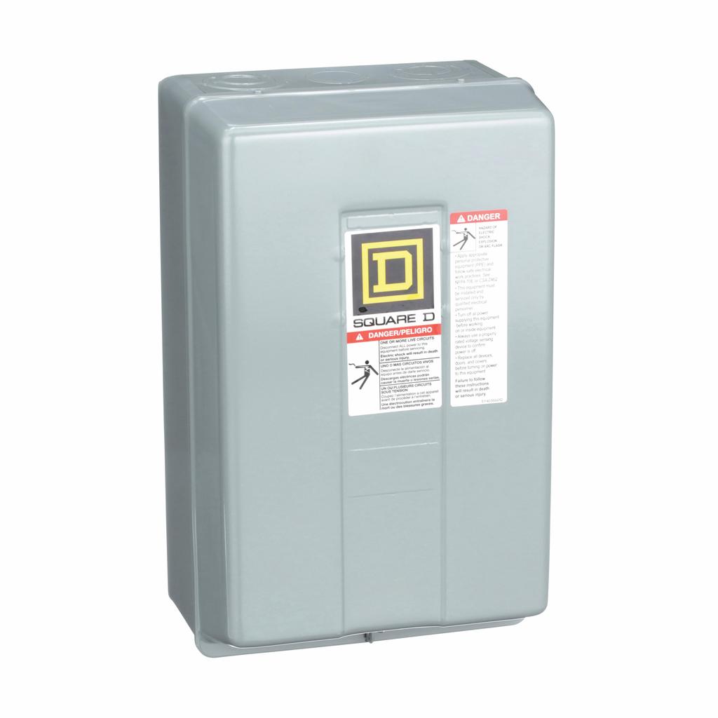 8903L electrically held lighting contactor, 4 P, 4 NO, 30 A, 600 V, 110/120 V 50/60 Hz coil, NEMA 1