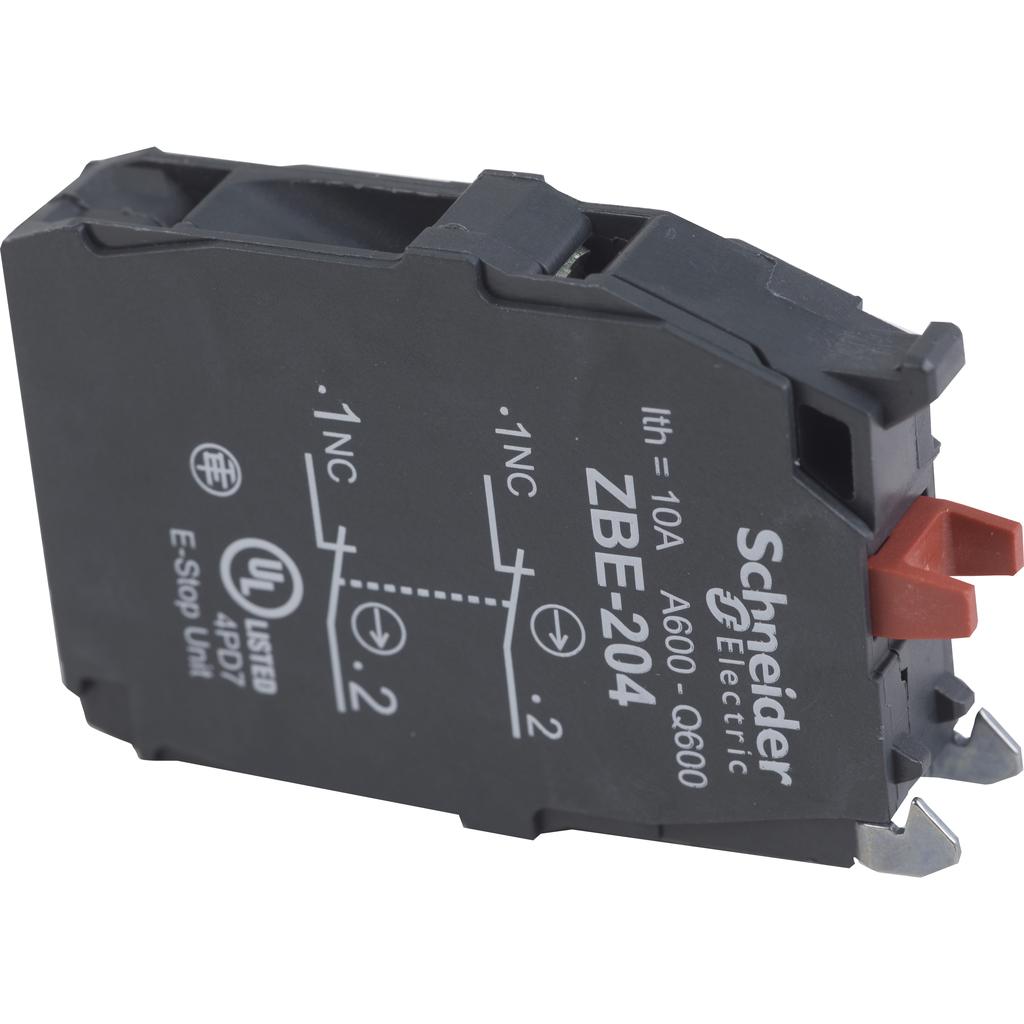 Double contact block, silver alloy, screw clamp terminal, 2 NC