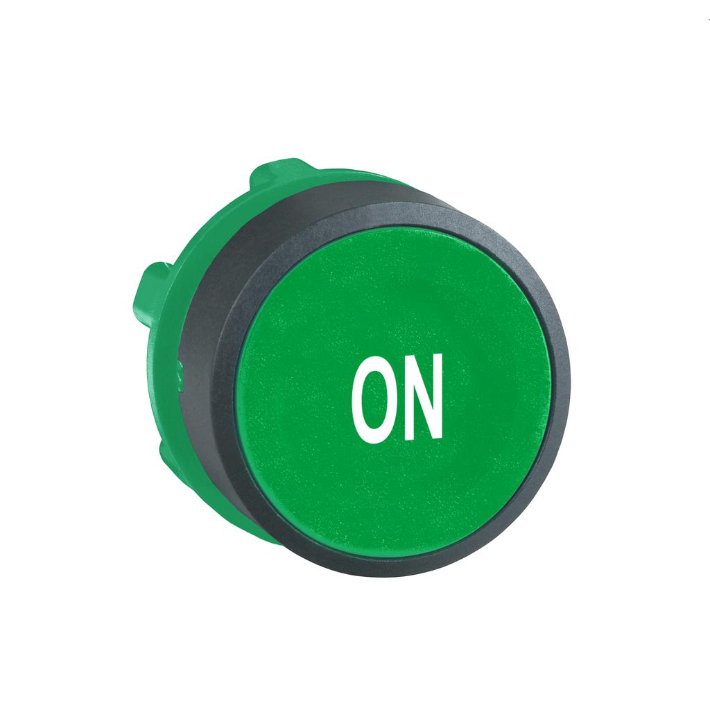 """Green flush pushbutton head Ø22 spring return """"ON"""""""
