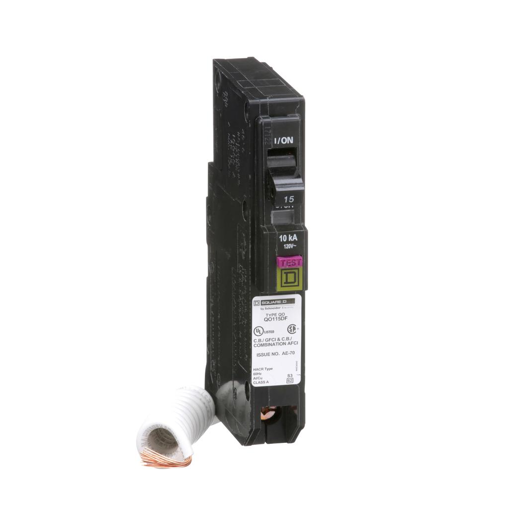Mini CB, QO, 15 A, 1P, 120 V, 10 kA, Plug in, Dual Func, Pigtail