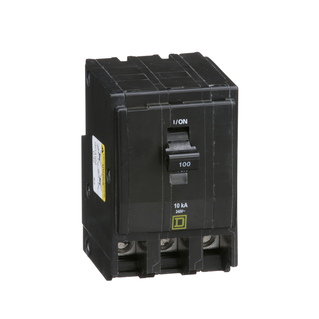 QO mini breaker, 100 A, 3 pole, 120/240 V, 10 kA, plug in
