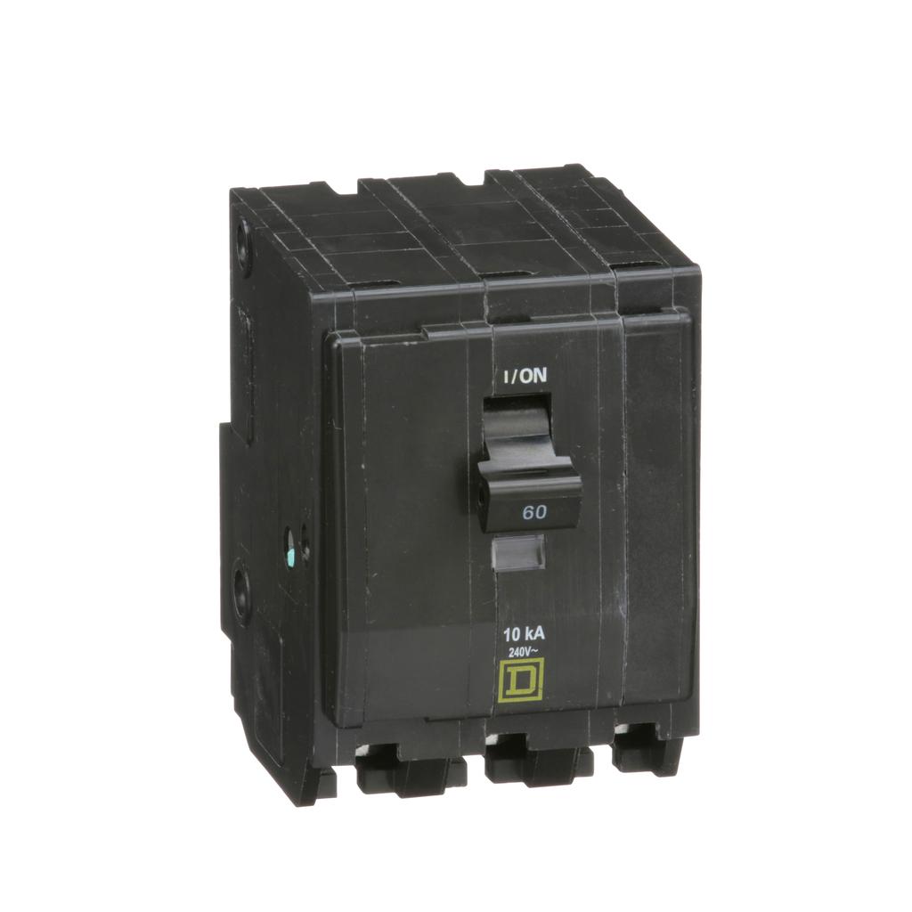 QO mini breaker, 60 A, 3 pole, 120/240 V, 10 kA, plug in