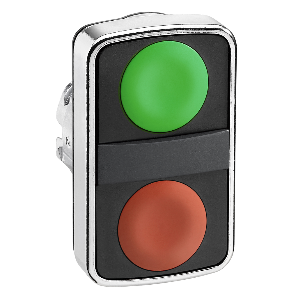 Double-headed push button head, metal, Ø22, 1 green flush unmarked + 1 red flush unmarked