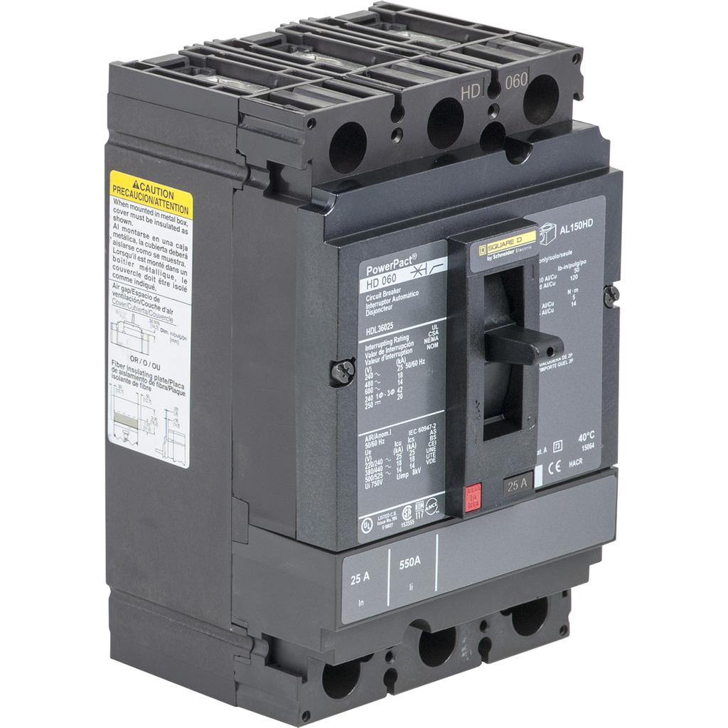 PowerPact H Circuit Breaker,ThermMagn,25A,3P,600V,14kA