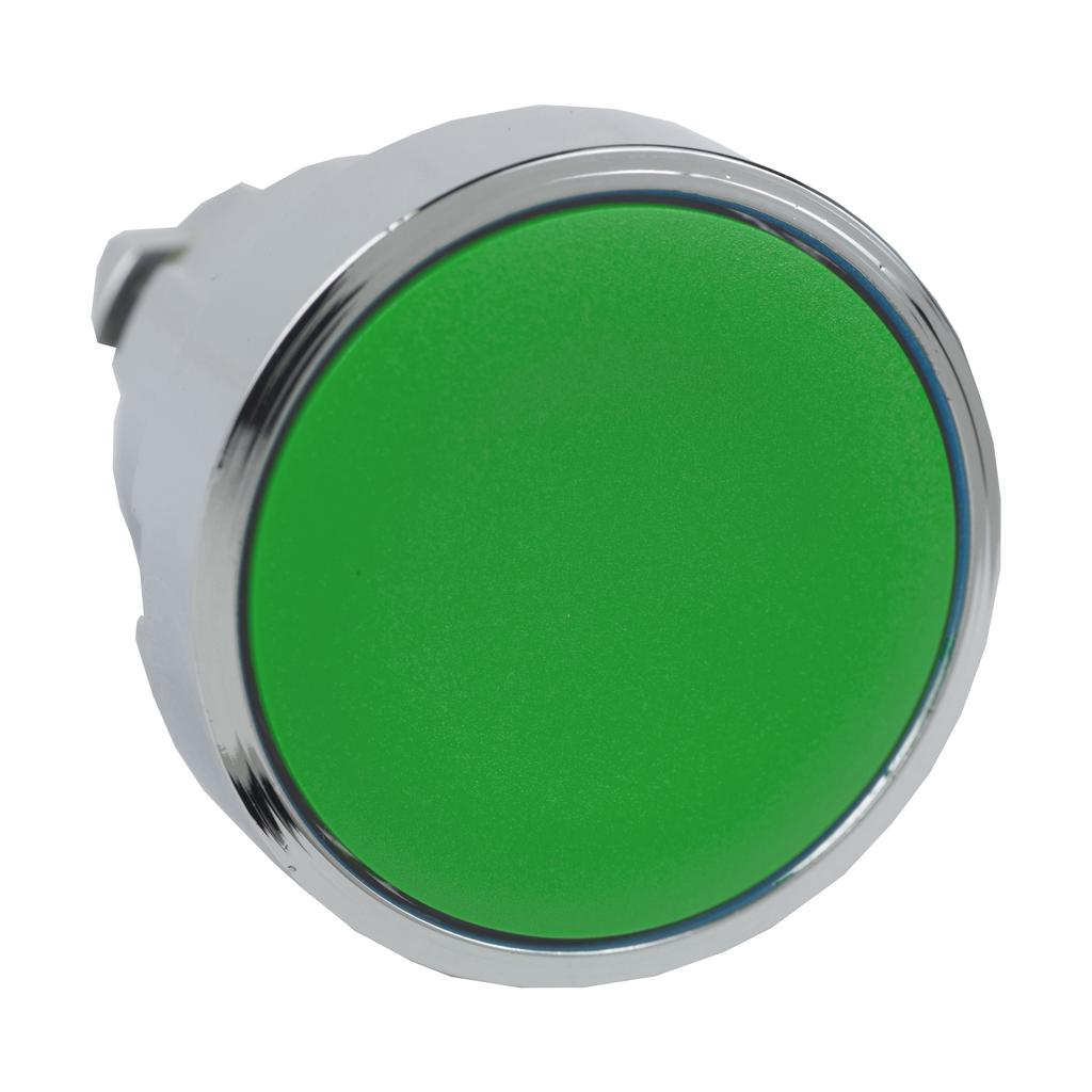 Harmony, 22mm Push Button, flush push button head, spring return, green, unmarked