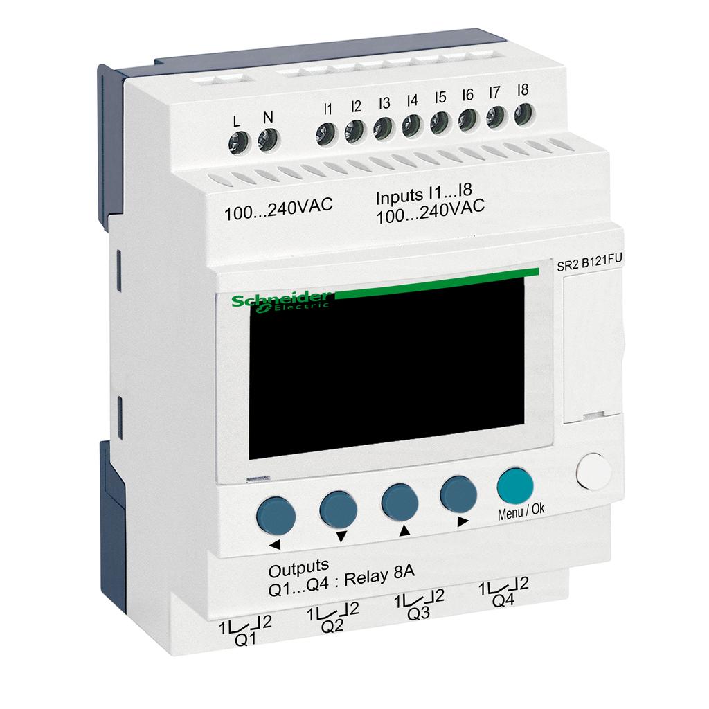 Compact smart relay Zelio Logic - 12 I O - 100..240 V AC - clock - display
