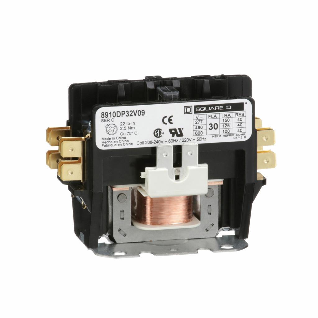 8910DP definite purpose contactor, 30 A, 2P, 208/240 V 60 Hz, 220 V 50 Hz coil, open