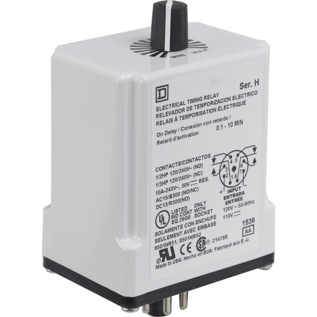 Plug In Timer, on delay, 0.1 to 10 minutes, 10 A at 240 VAC, 120 VAC/110 VDC