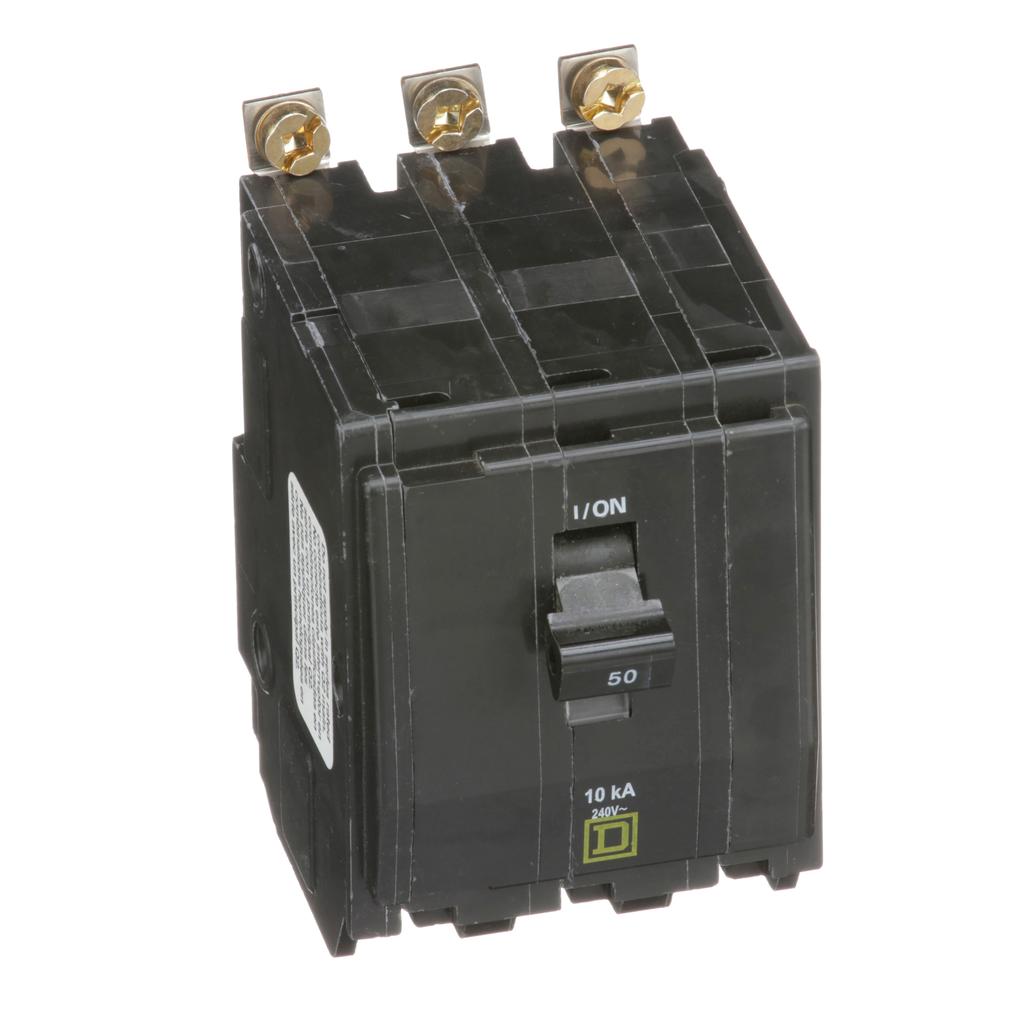 QO mini breaker, 50 A, 3 pole, 120/240 V, 10 kA, bolt on