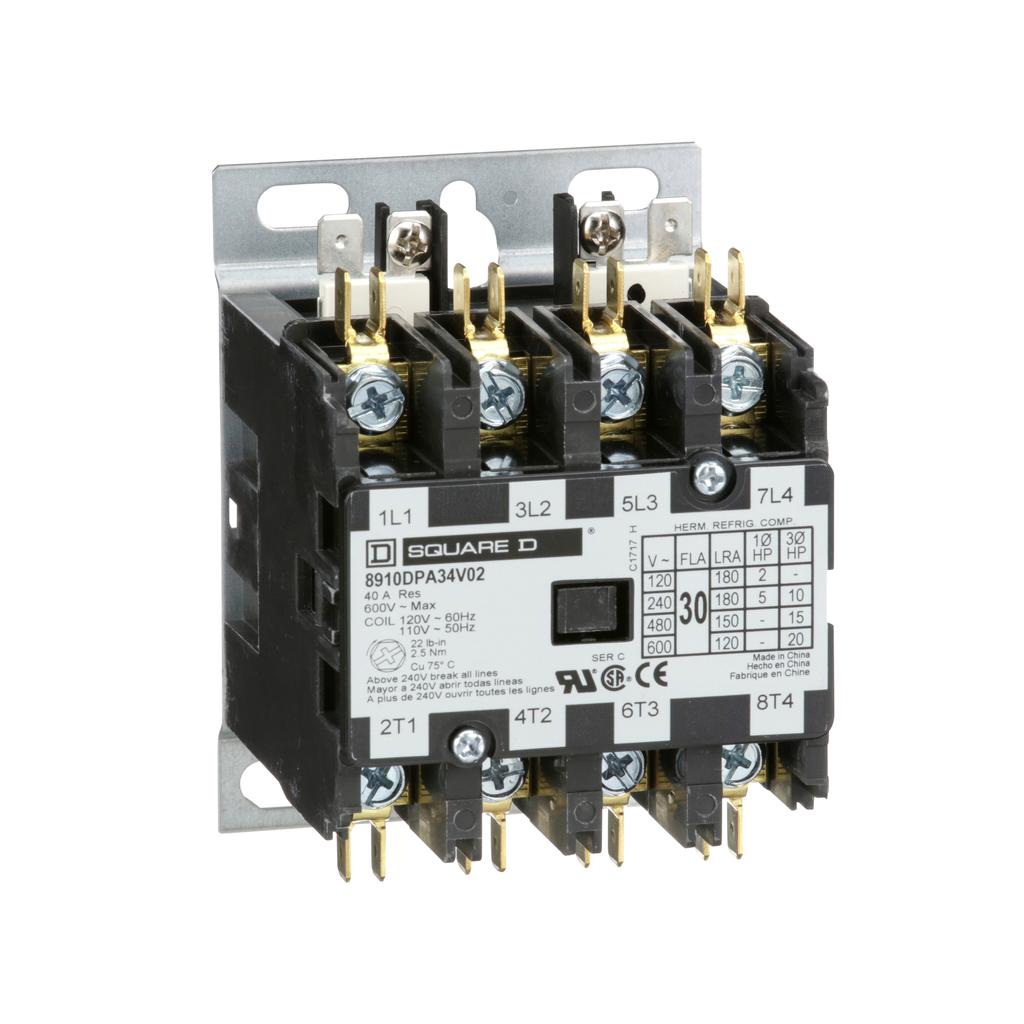 8910DPA definite purpose contactor, 30 A, 4P, 110/120 V 50/60 Hz coil, open, 2 NO and 2 NC