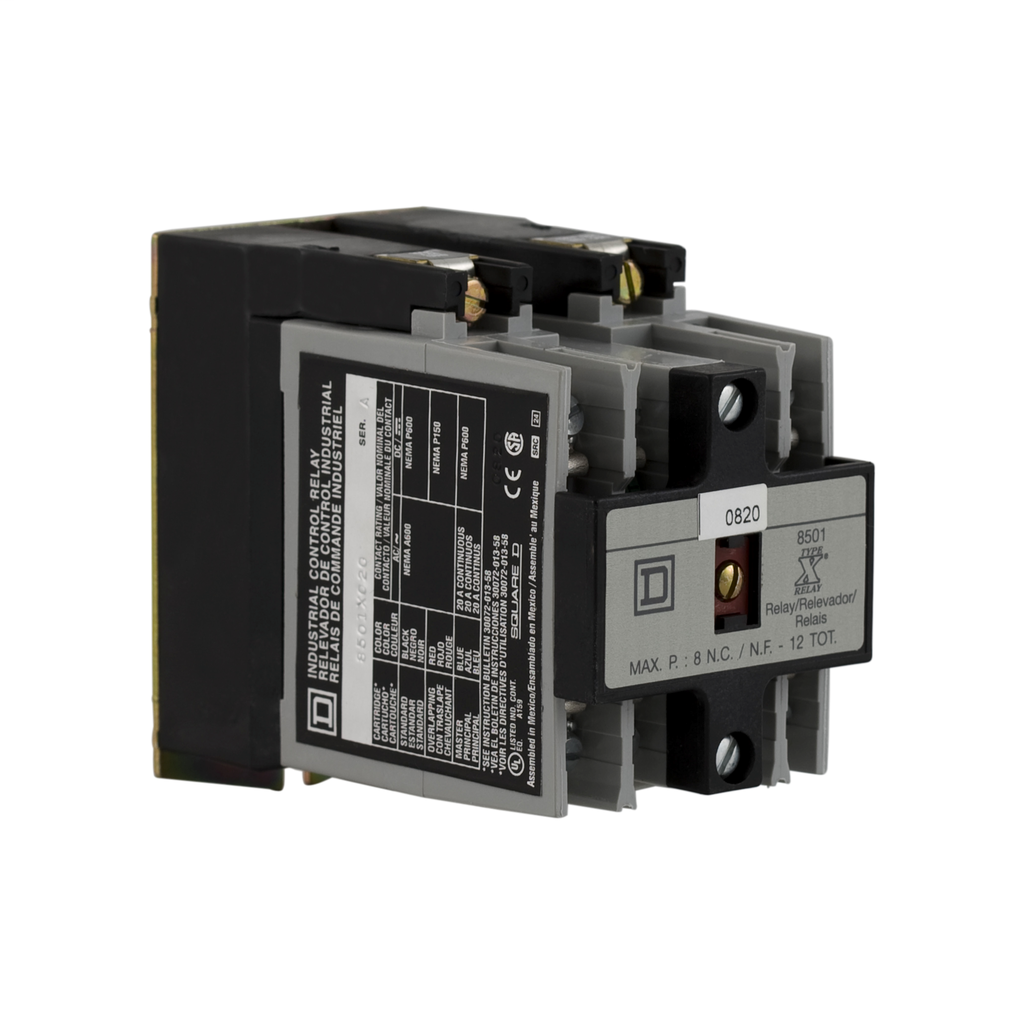NEMA Control Relay, Type X, 2 NO contacts, 10 A, 600 VAC, with 110 /120 VAC 50/60 Hz coil