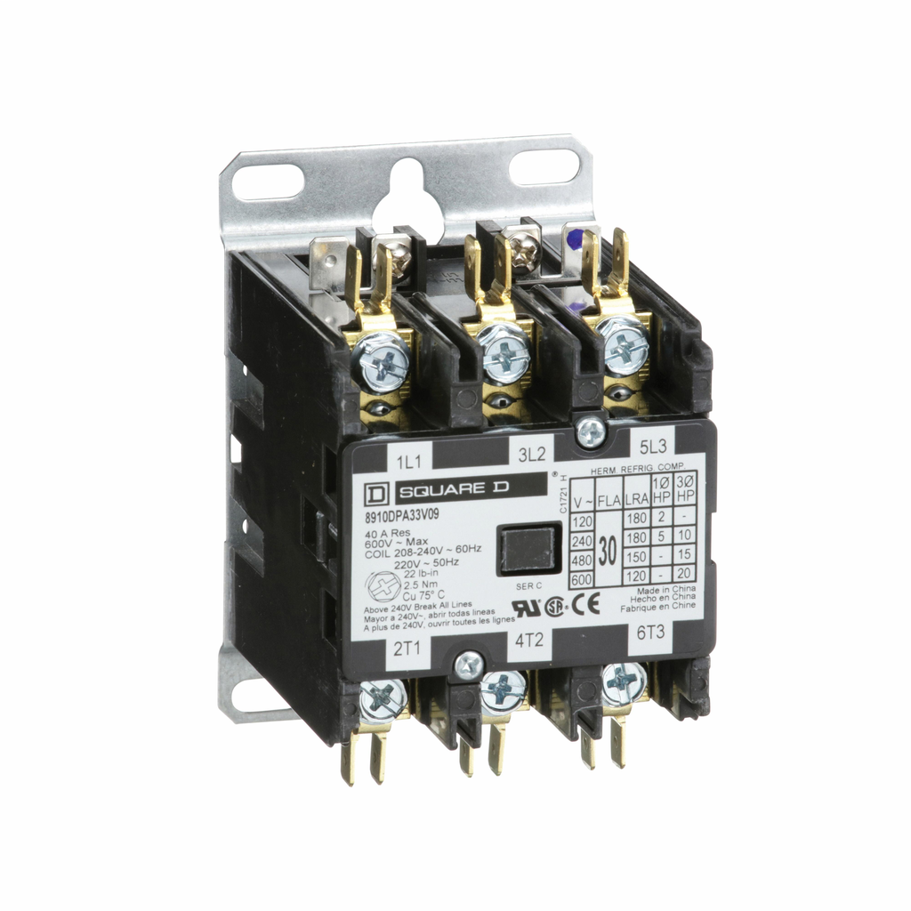 8910DPA definite purpose contactor, 30 A, 3P, 220/208 to 240 V 50/60 Hz coil, open