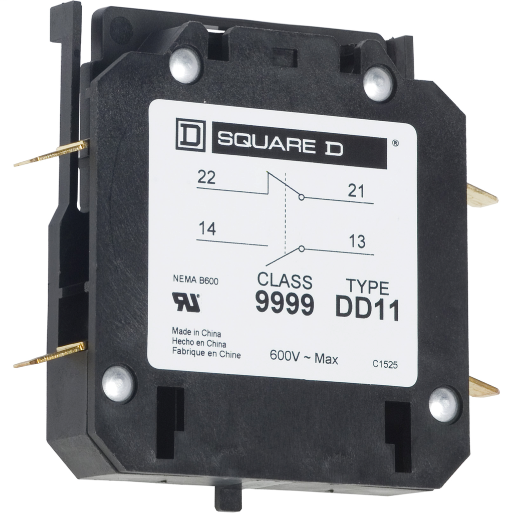 Auxiliary contact, 8910DPA, 1 NO and 1 NC, 20 to 40 A contactor, 3 A at 120 VAC