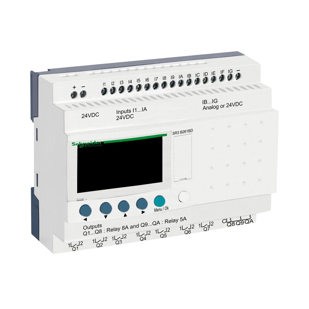 Modular smart relay Zelio Logic - 26 I O - 24 V DC - clock - display