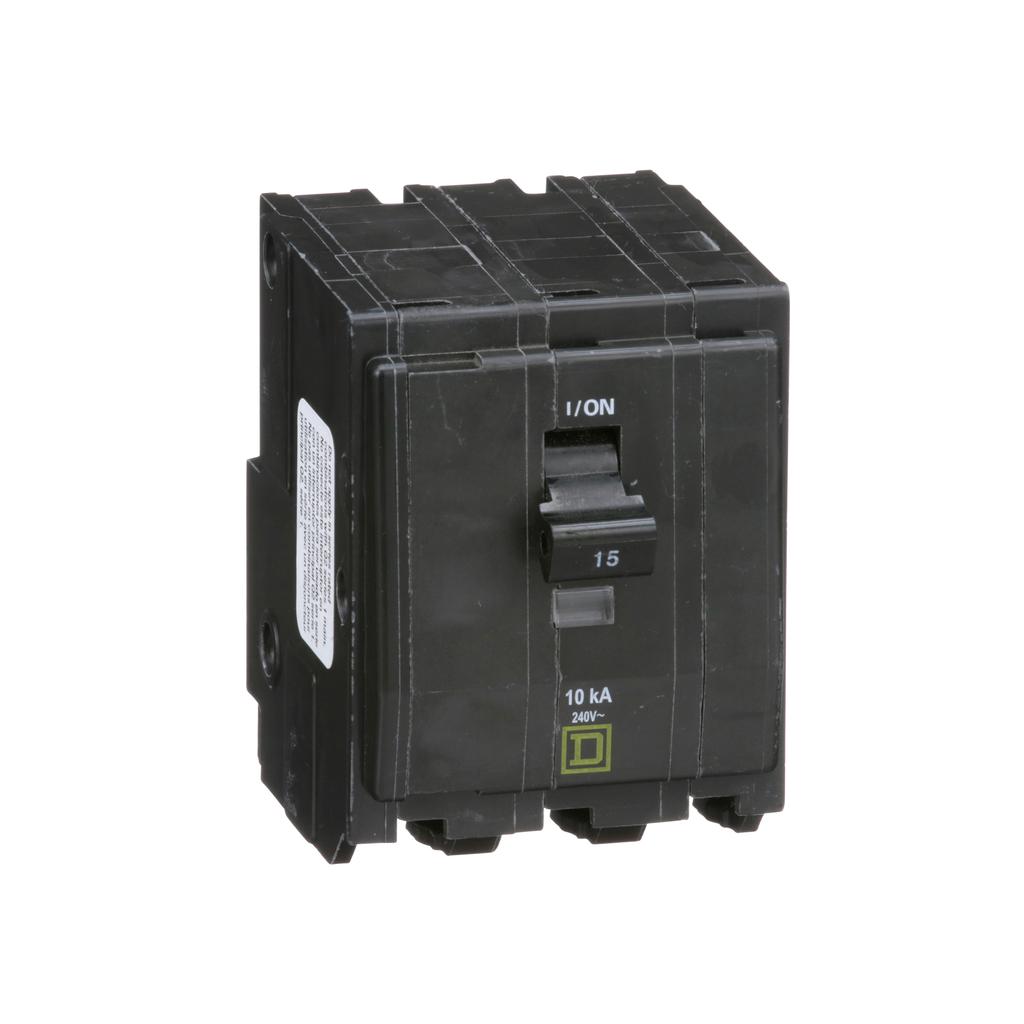 QO mini breaker, 15 A, 3 pole, 120/240 V, 10 kA, plug in