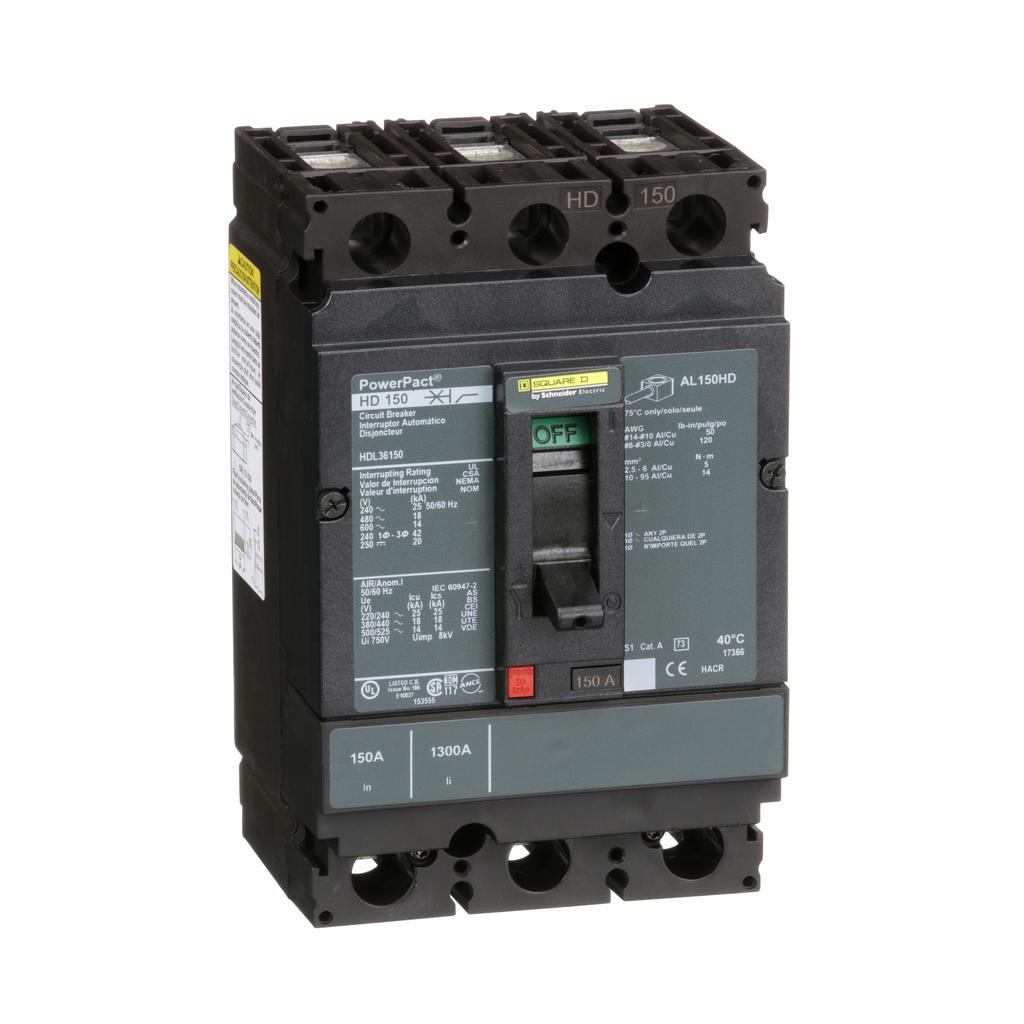 PowerPact H Circuit Breaker,ThermMagn,150A,3P,600V,14kA