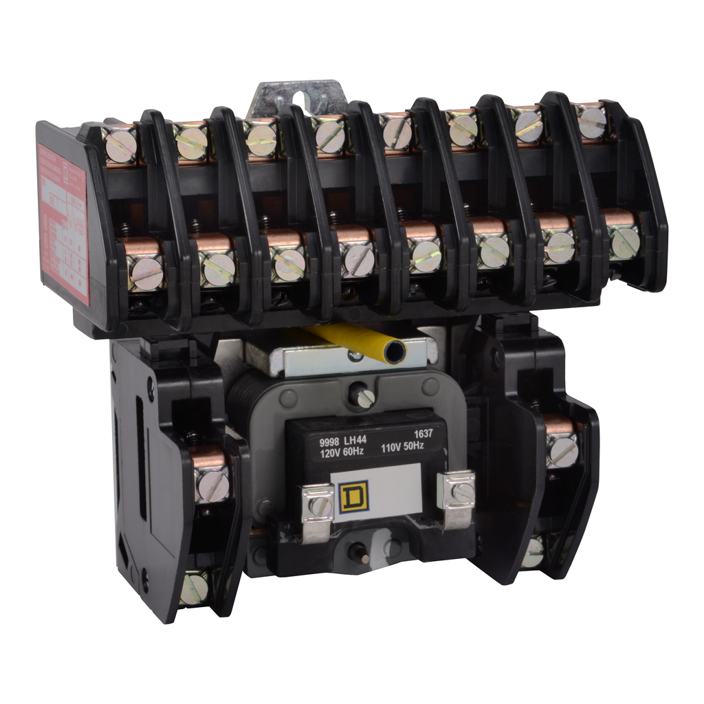 8903L electrically held lighting contactor, 10 P, 10 NO, 30 A, 600 V, 110/120 V 50/60 Hz coil, open