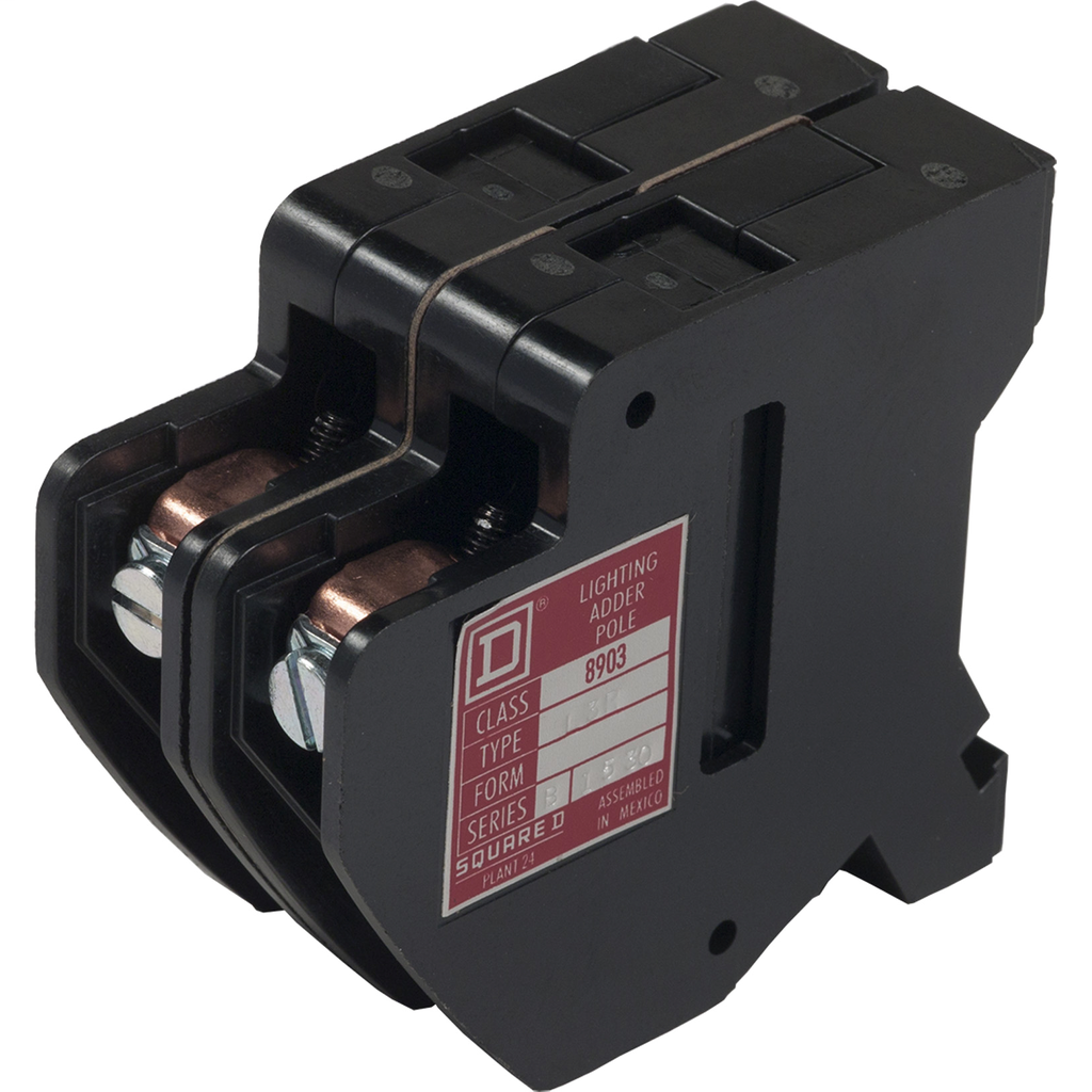 8903L or LX lighting contactor power pole, 2 P, 2 NO, 30 A, 600 V, right side mount