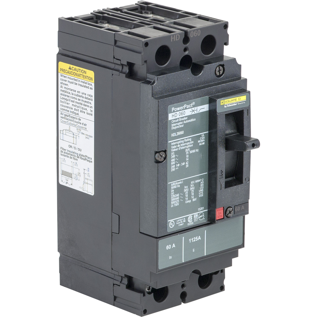 PowerPact H Circuit Breaker,ThermMagn,60A,2P,600V,14kA