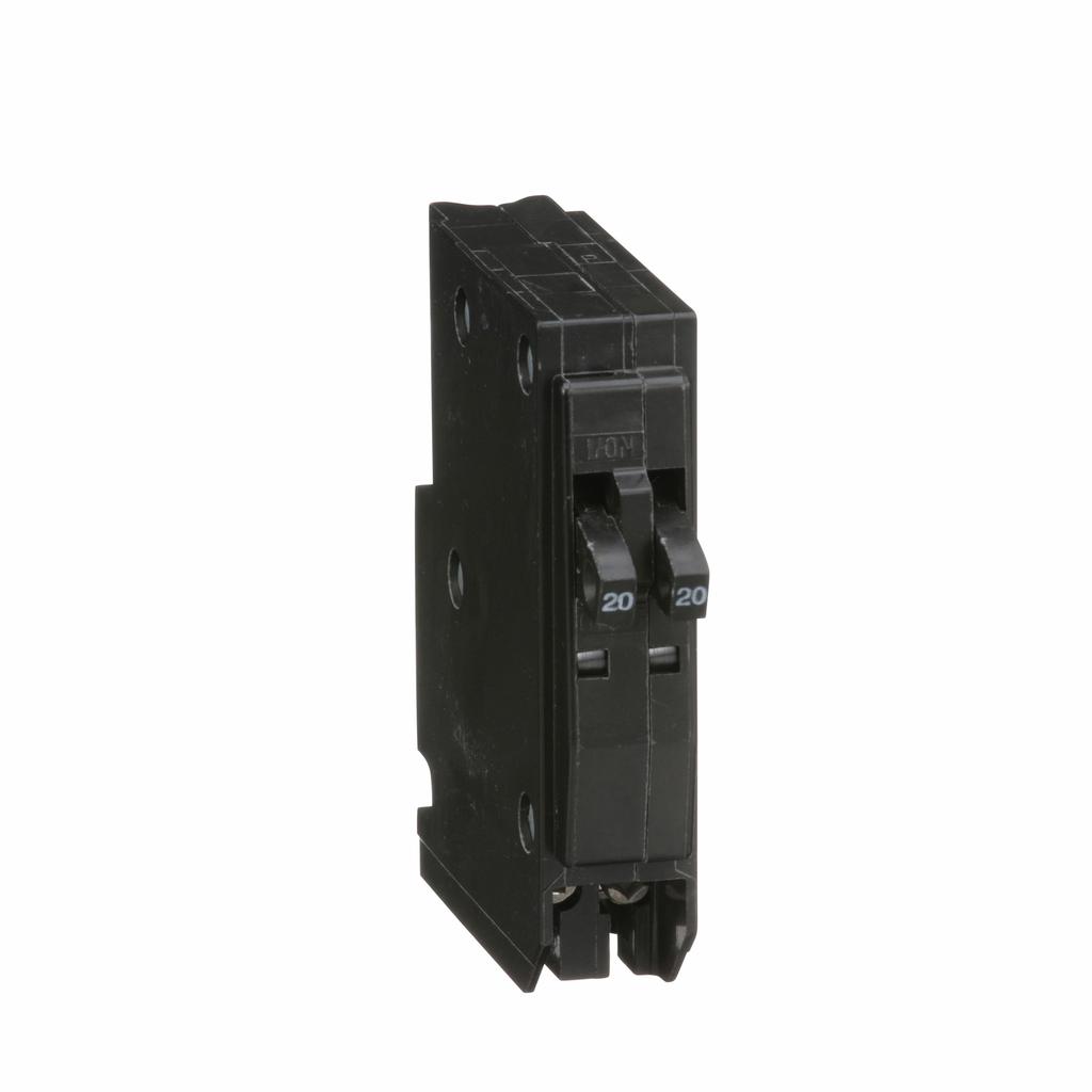 QO mini breaker, tandem, 20 A, 1 pole, 120/240 V, 10 kA, plug in