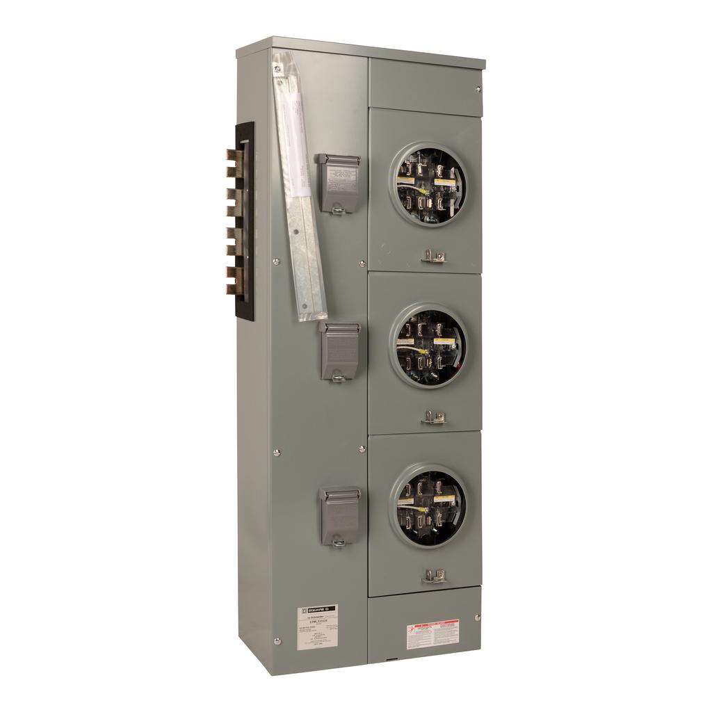 EZ Meter, branch unit, 225 A, 3 PH, 240/120 V delta, 3 sockets, ringless, N3R