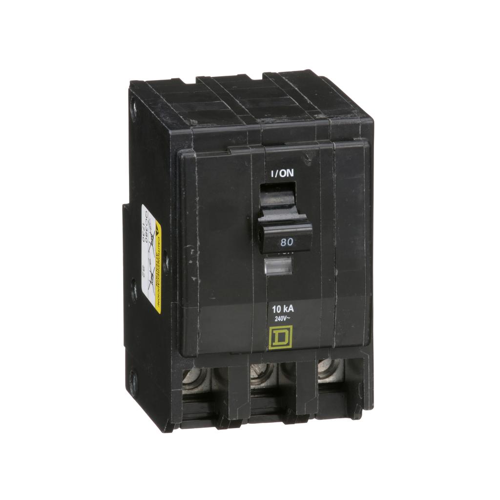 QO mini breaker, 80 A, 3 pole, 120/240 V, 10 kA, plug in