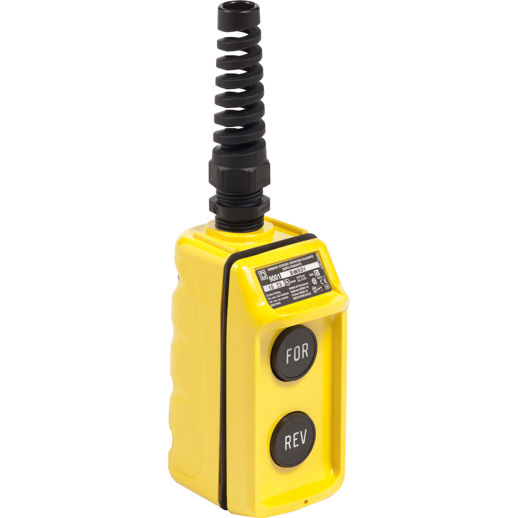 Pendant Station, 2 mechanically interlocked push buttons, NO contacts, FORWARD REVERSE, yellow enclosure, 600 VAC 5 A