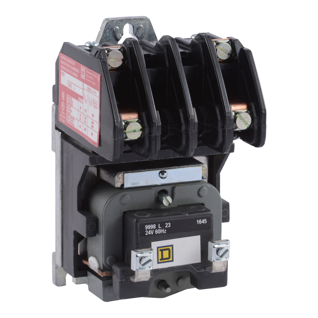 8903L electrically held lighting contactor, 2 P, 2 NC, 30 A, 600 V, 277 V 60 Hz coil, open