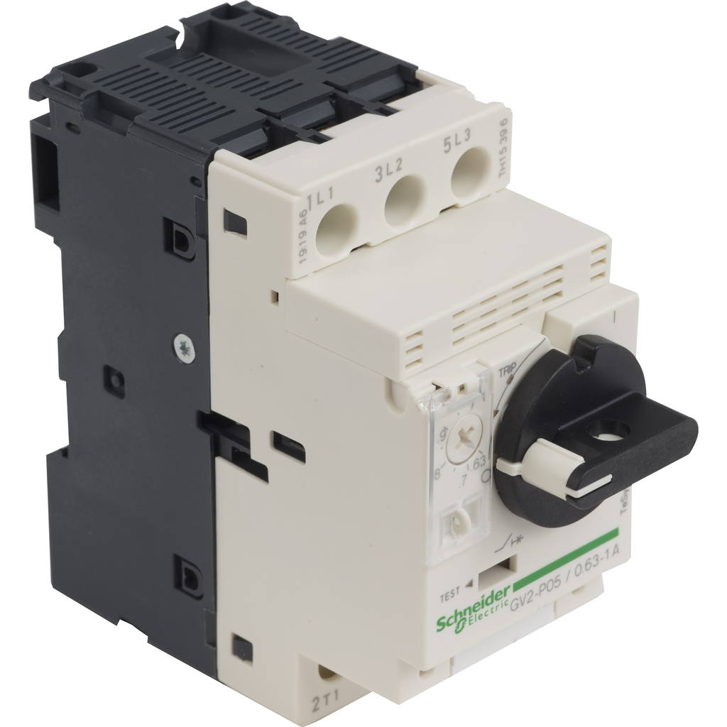 Motor circuit breaker, TeSys GV2, 3P, 0.63-1 A, thermal magnetic, screw clamp terminals
