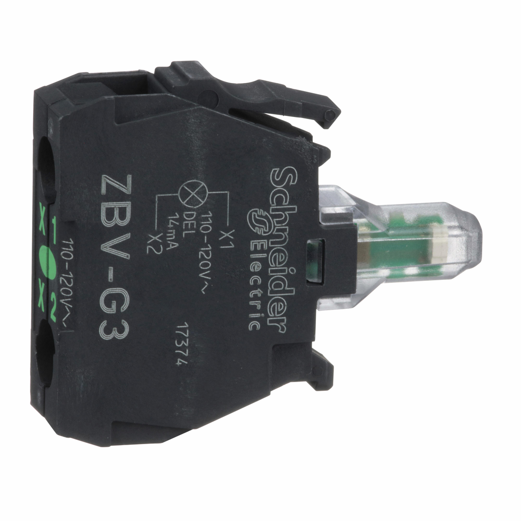 Harmony, 22mm Push Button, light module, integral LED 120 VAC, green, screw clamp terminals