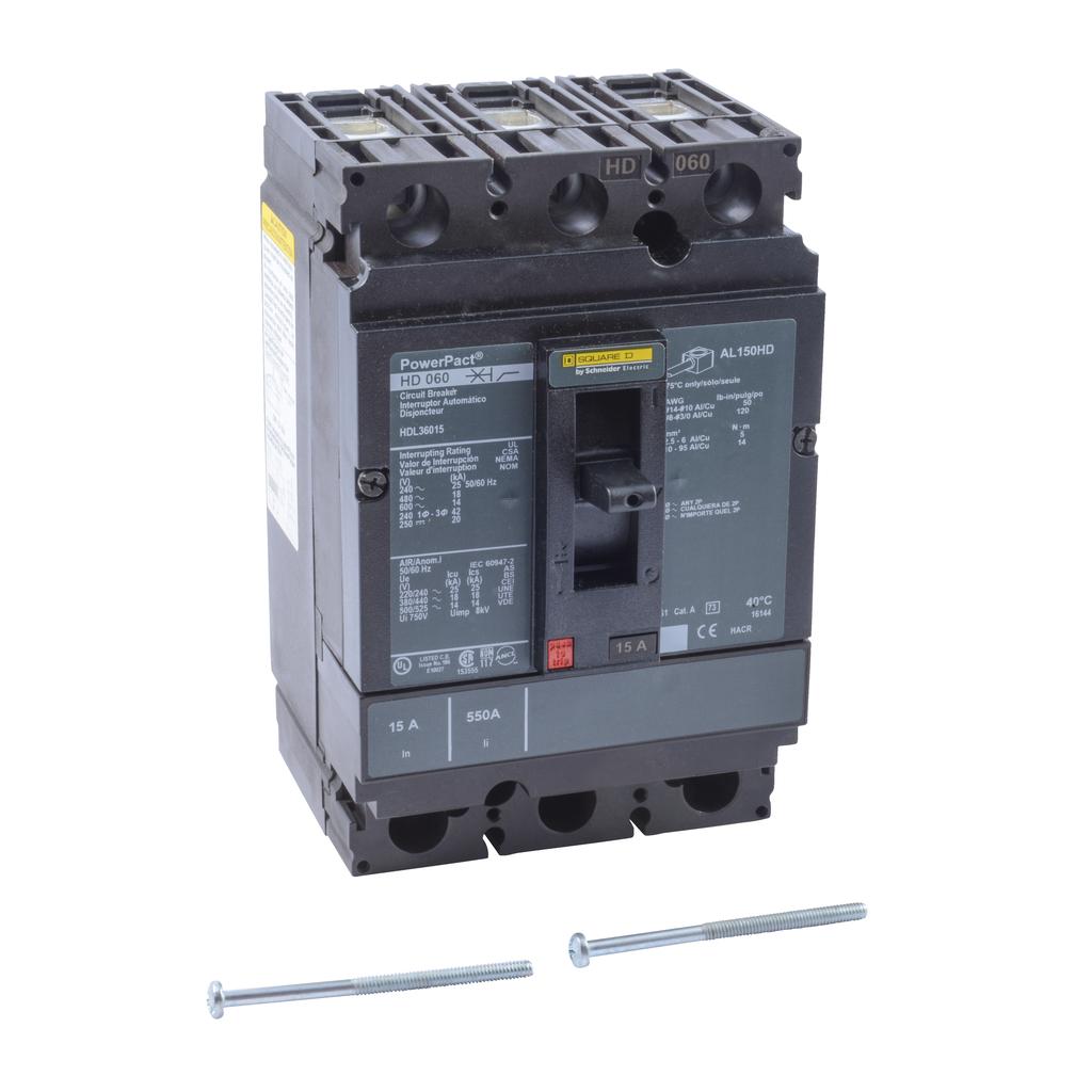 PowerPact H Circuit Breaker,ThermMagn,15A,3P,600V,14kA
