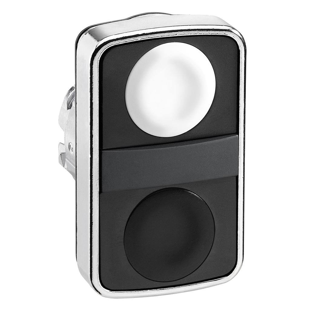 Double-headed push button head, metal, Ø22, 1 white flush unmarked + 1 black flush unmarked