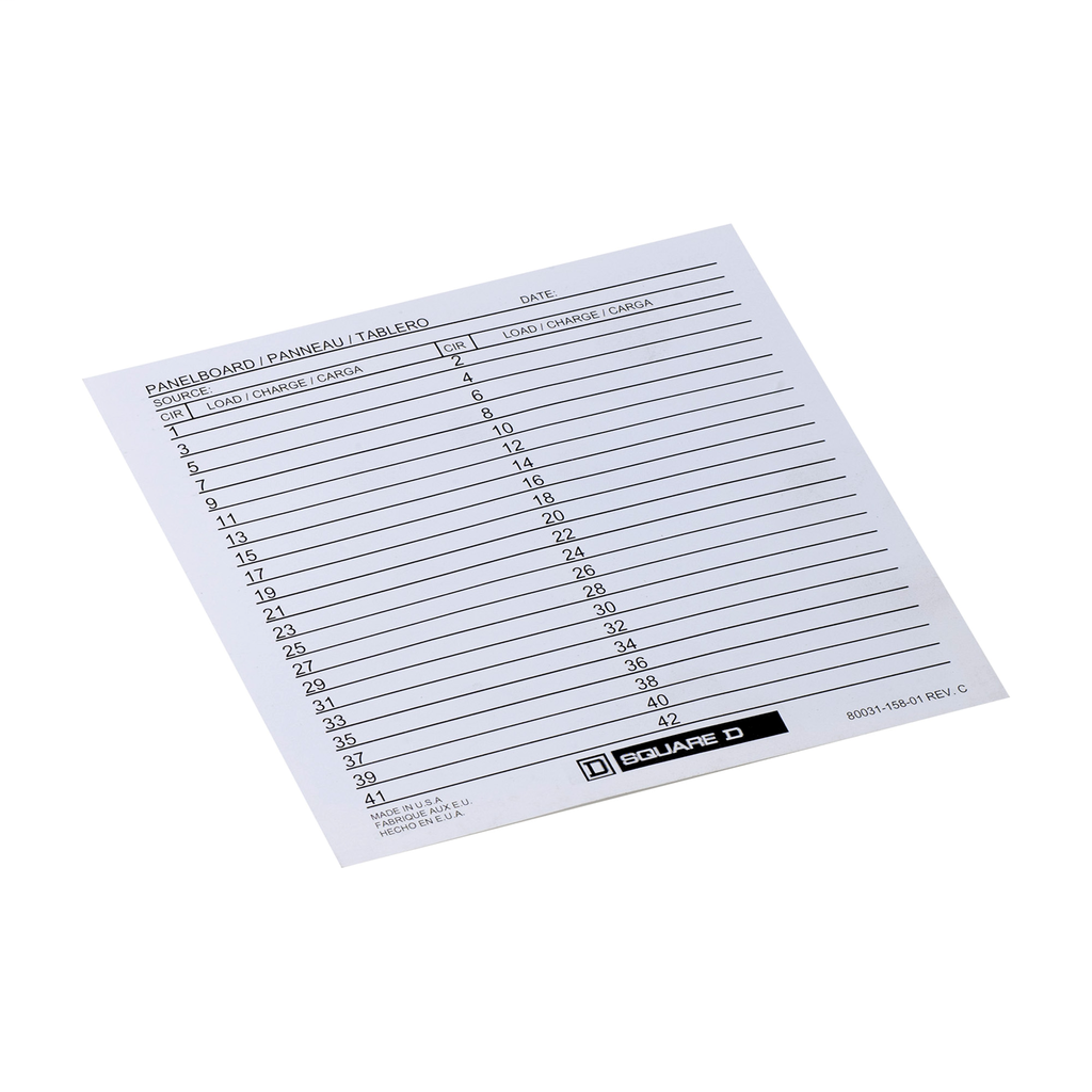 NQNF Panelboard accy, label card, directory, paper
