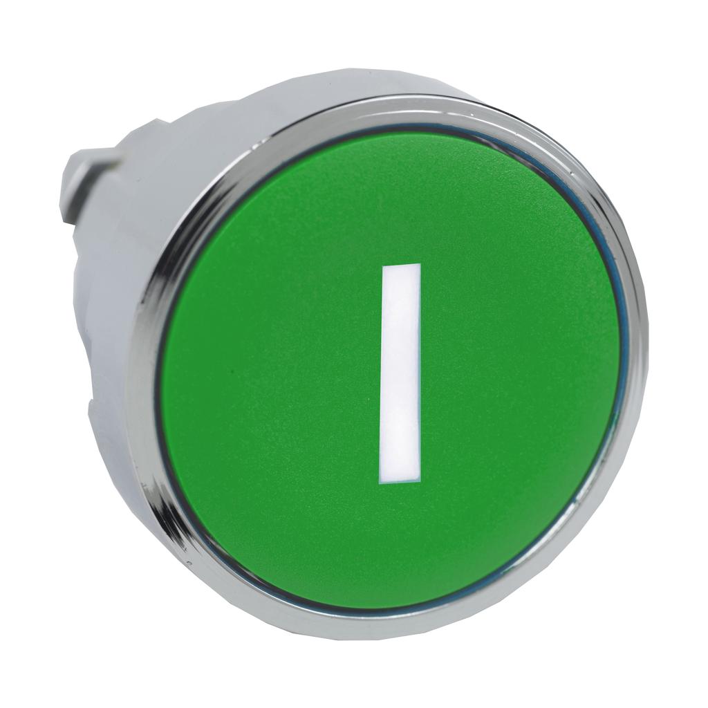 """Green flush pushbutton head Ø22 spring return """"I"""""""