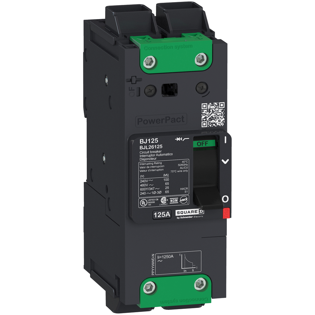 PowerPact B Circuit Breaker, 60A, 2P, 600Y/347V AC, 14kA at 600Y/347 UL EverLink