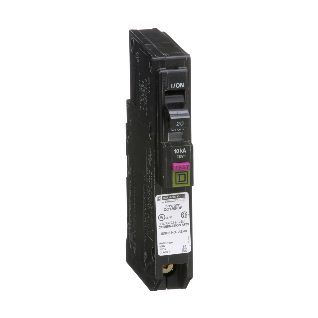Mini CB, QO, 20 A, 1P, 120 V, 10 kA, Plug in, Dual Func