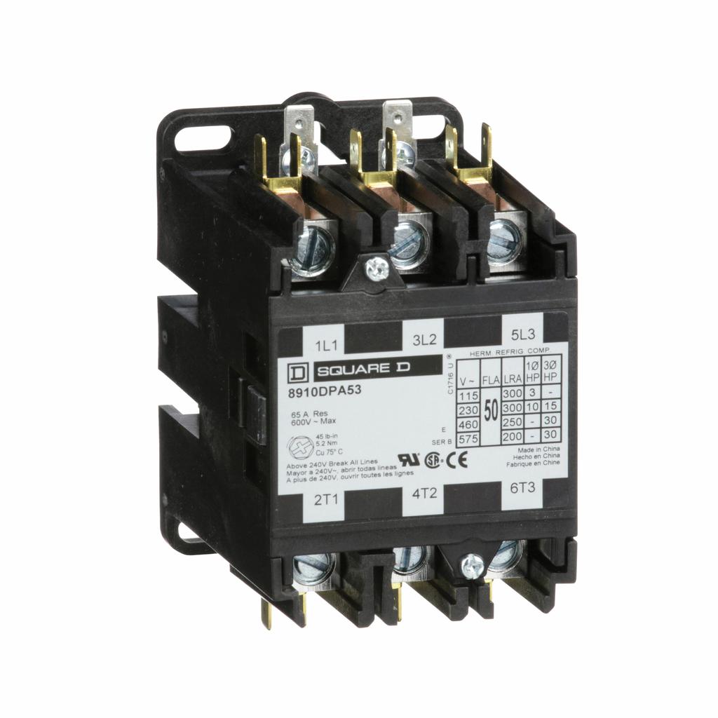 8910DPA definite purpose contactor, 50 A, 3P, 24/24 V 50/60 Hz coil, open