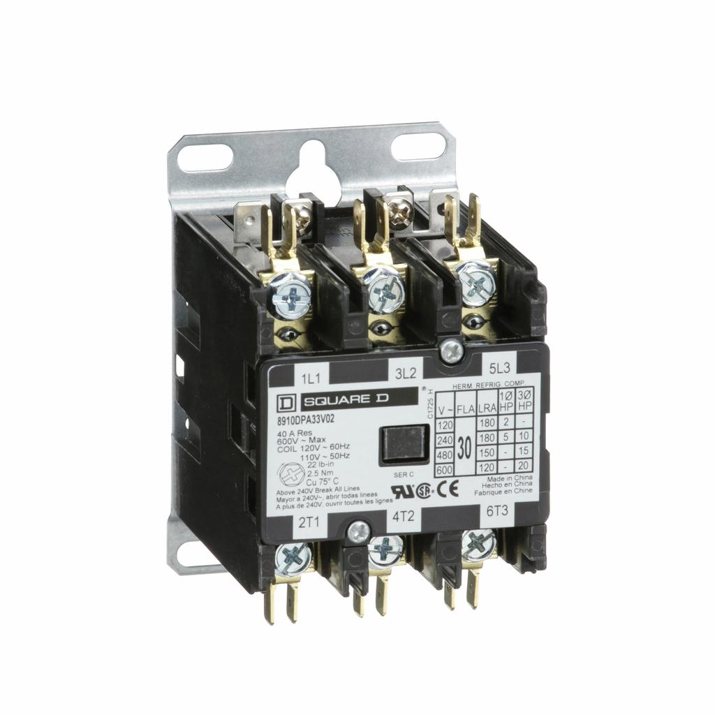 8910DPA definite purpose contactor, 30 Amp, 3 P, 110/120 V 50/60 Hz coil, open