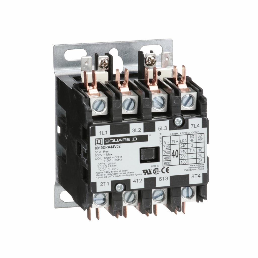 8910DPA definite purpose contactor, 40 A, 4P, 110/120 V 50/60 Hz coil, open