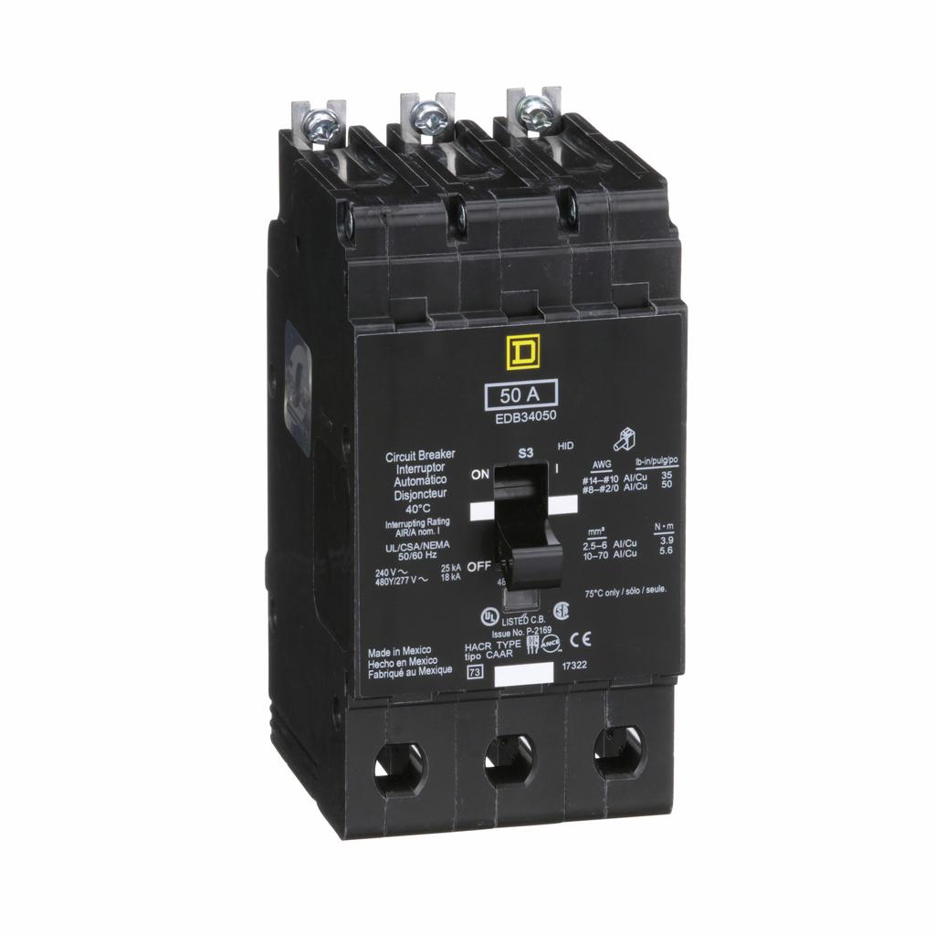 E Frame, circuit breaker, 50 A, 3 pole, 480Y/277 V, 18/25 kA, bolt on