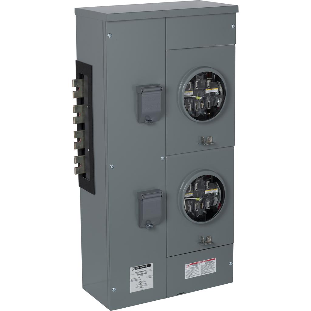 EZ Meter, branch unit, 225 A, 3 PH, 240/120 V delta, 2 sockets, ringless, N3R