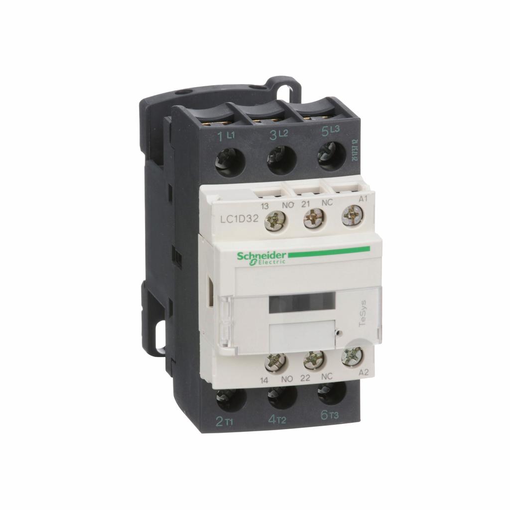 TeSys D IEC contactor, 32 A, 3 P, 20 HP at 480 VAC, nonreversing, 120 VAC 50/60 Hz coil