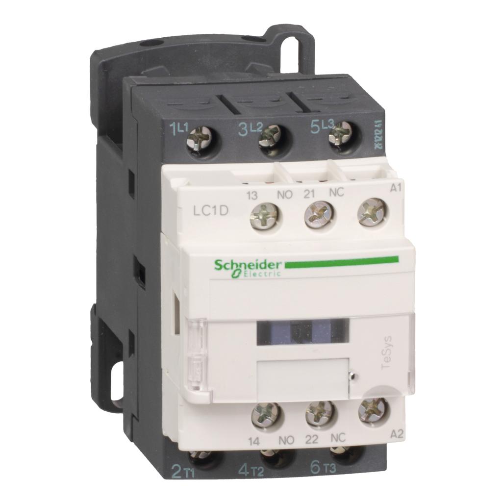 TeSys D IEC contactor, 12 A, 3 P, 7.5 HP at 480 VAC, nonreversing, 110 VAC 50/60 Hz coil