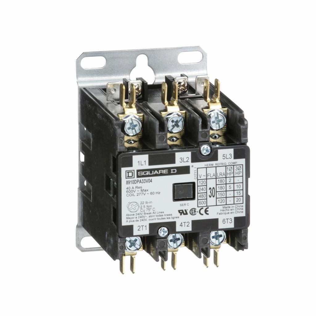 8910DPA definite purpose contactor, 30 Amp, 3 P, 277 V 60 Hz coil, open