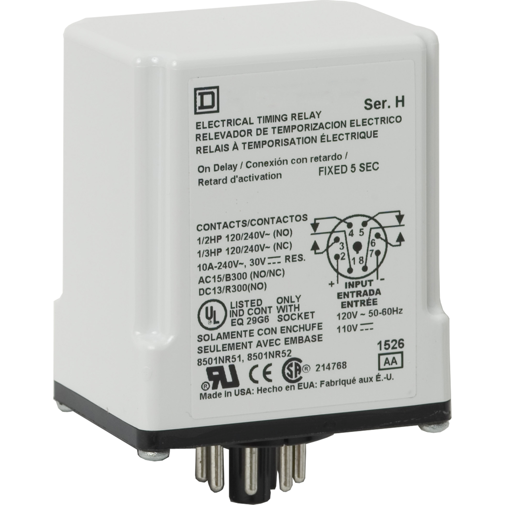 Plug In Timer, on delay, 30 seconds fixed, 120 VAC 110 VDC
