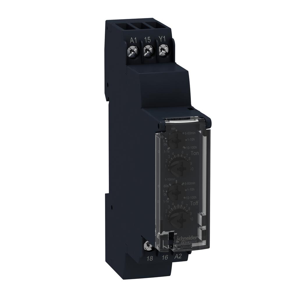 Asymmetrical flashing relay - 1 s..100 h - 24..240 V AC - 1 OC