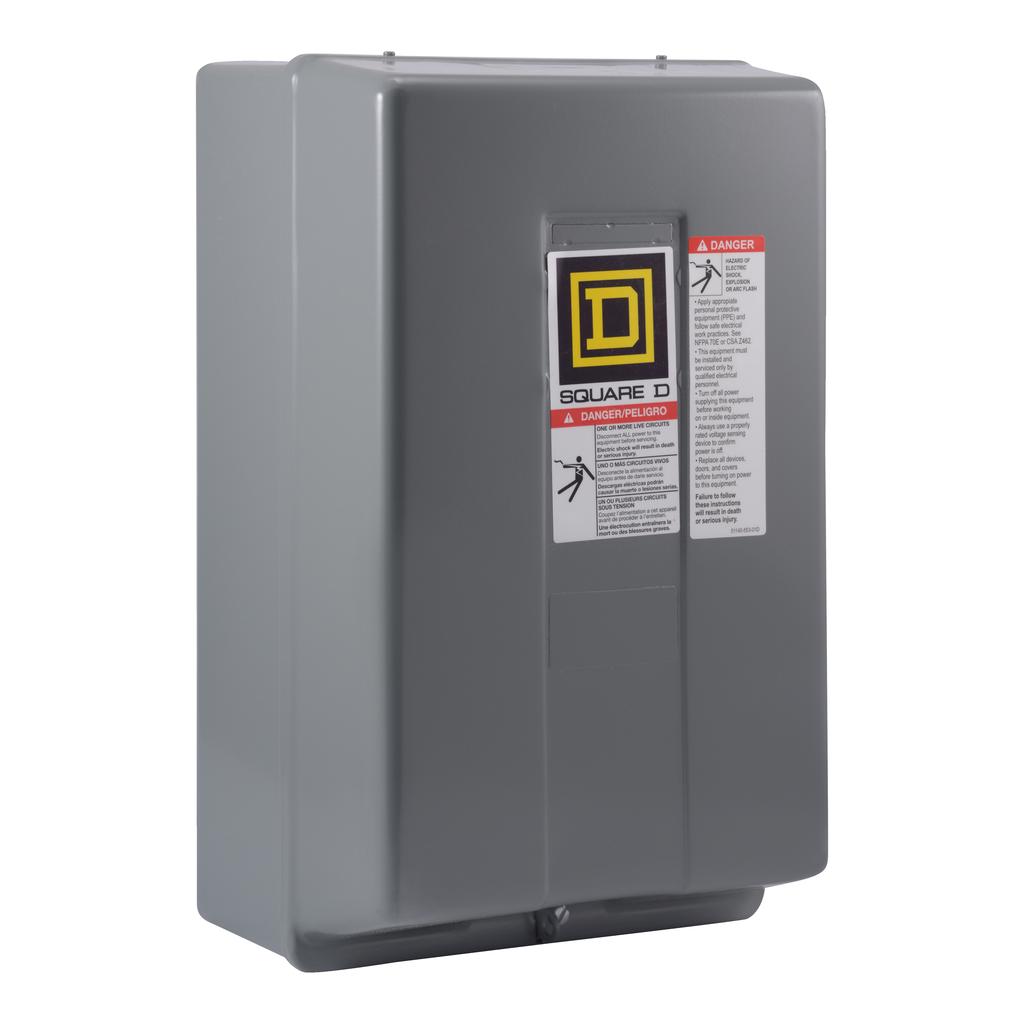 8903LX mechanically held lighting contactor, 4 P, 4 NO, 30 A, 600 V, 24 V 60 Hz coil, NEMA 1